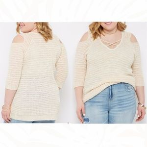 Rue+ Size 2X Ivory Cold Shoulder Tunic Sweater